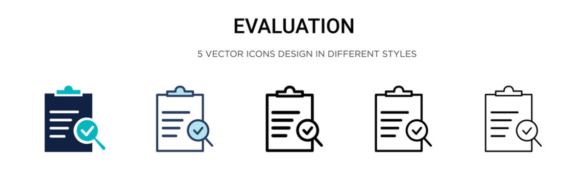 Evaluation icon in filled, thin line, outline and stroke style. Vector illustration of two colored and black evaluation vector icons designs can be used for mobile, ui, web