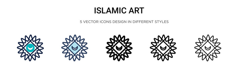 Islamic art icon in filled, thin line, outline and stroke style. Vector illustration of two colored and black islamic art vector icons designs can be used for mobile, ui, web