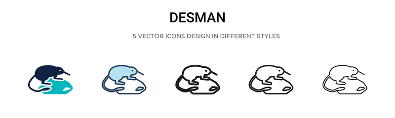 Desman icon in filled, thin line, outline and stroke style. Vector illustration of two colored and black desman vector icons designs can be used for mobile, ui, web
