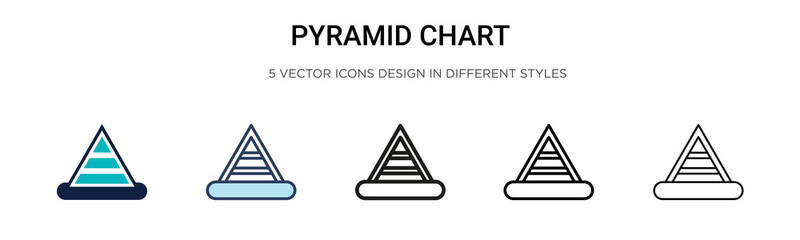 Pyramid chart icon in filled, thin line, outline and stroke style. Vector illustration of two colored and black pyramid chart vector icons designs can be used for mobile, ui, web Wall mural