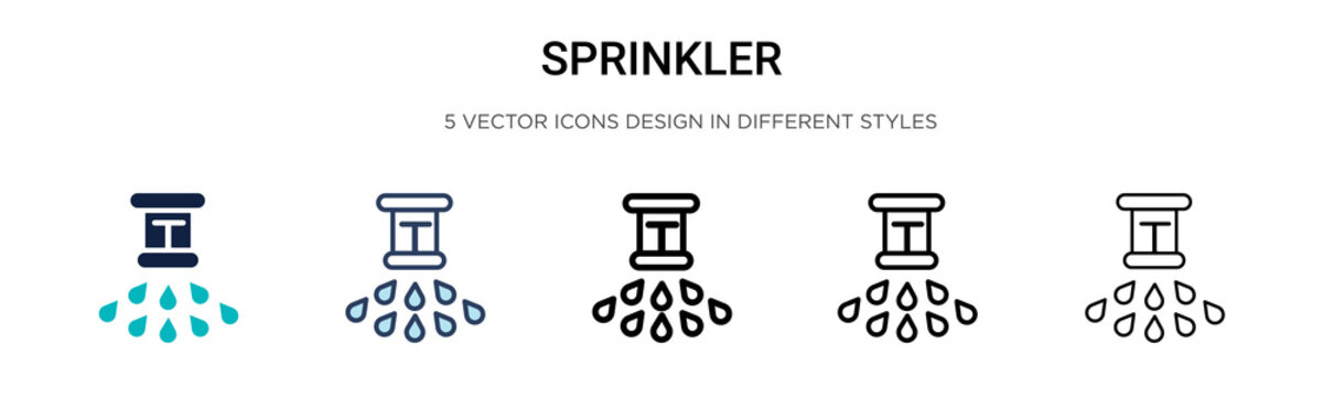 Sprinkler icon in filled, thin line, outline and stroke style. Vector illustration of two colored and black sprinkler vector icons designs can be used for mobile, ui, web