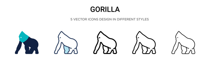 Gorilla icon in filled, thin line, outline and stroke style. Vector illustration of two colored and black gorilla vector icons designs can be used for mobile, ui, web Wall mural