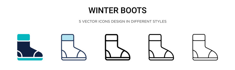 Winter boots icon in filled, thin line, outline and stroke style. Vector illustration of two colored and black winter boots vector icons designs can be used for mobile, ui, web Wall mural
