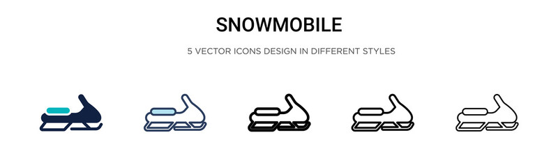 Snowmobile icon in filled, thin line, outline and stroke style. Vector illustration of two colored and black snowmobile vector icons designs can be used for mobile, ui, web