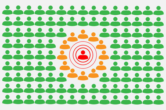 Crowd with people silhouette symbols concept with Covid-19 contact tracing system with red, orange and green alerts - Social distancing
