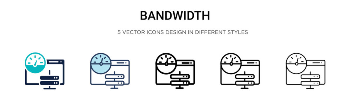 Bandwidth icon in filled, thin line, outline and stroke style. Vector illustration of two colored and black bandwidth vector icons designs can be used for mobile, ui, web
