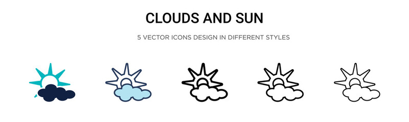 Clouds and sun icon in filled, thin line, outline and stroke style. Vector illustration of two colored and black clouds and sun vector icons designs can be used for mobile, ui, web Wall mural