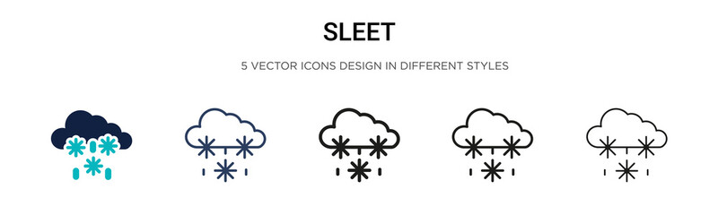 Sleet icon in filled, thin line, outline and stroke style. Vector illustration of two colored and black sleet vector icons designs can be used for mobile, ui, web Wall mural