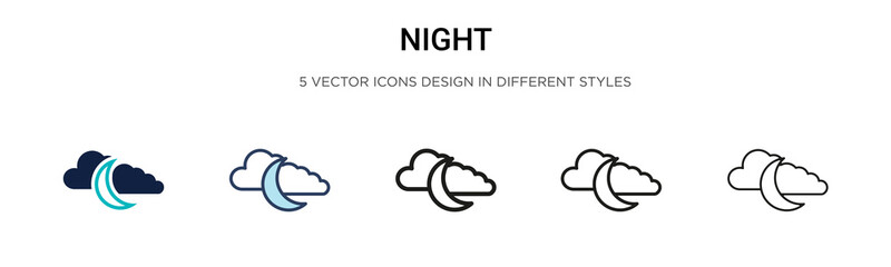 Night icon in filled, thin line, outline and stroke style. Vector illustration of two colored and black night vector icons designs can be used for mobile, ui, web Wall mural
