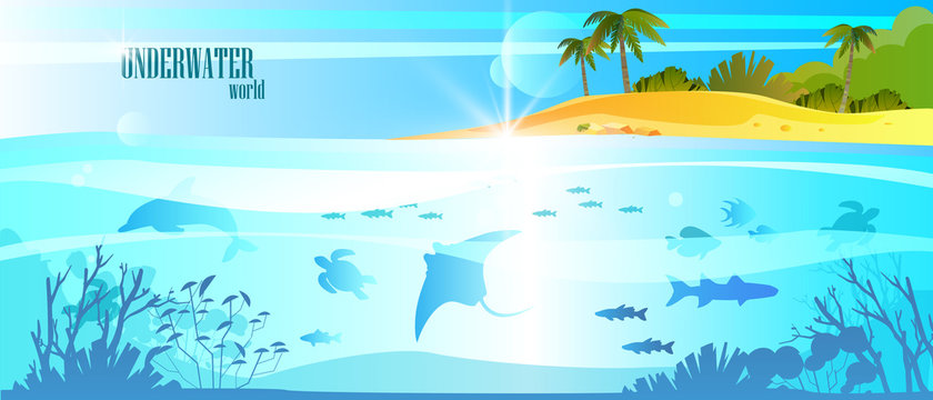 Summer vacation banner with ocean, tropical island, palm, dolphin, turtle, fish. Underwater background with sea animals, coral reef, plants silhouettes. Vector stock seascape in trendy blue colors.