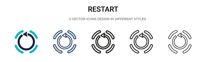Restart icon in filled, thin line, outline and stroke style. Vector illustration of two colored and black restart vector icons designs can be used for mobile, ui, web