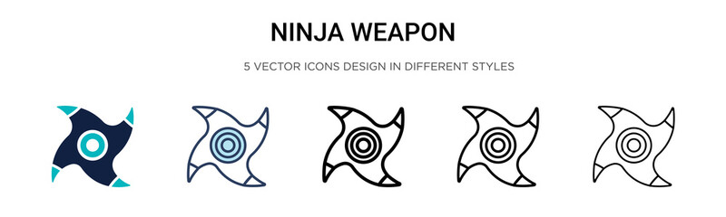 Ninja weapon icon in filled, thin line, outline and stroke style. Vector illustration of two colored and black ninja weapon vector icons designs can be used for mobile, ui, web