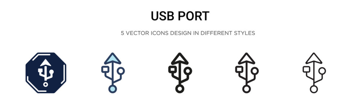 Usb port icon in filled, thin line, outline and stroke style. Vector illustration of two colored and black usb port vector icons designs can be used for mobile, ui, web