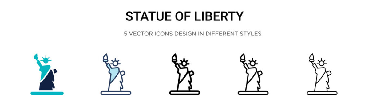 Statue of liberty icon in filled, thin line, outline and stroke style. Vector illustration of two colored and black statue of liberty vector icons designs can be used for mobile, ui, web