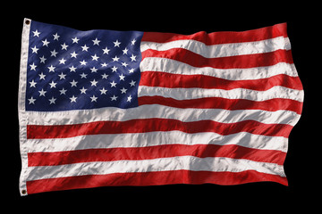 Printed roller blinds Abstract wave American flag waving in the wind isolated on black background. 3D