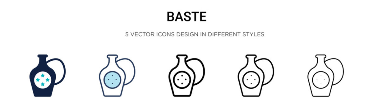 Baste icon in filled, thin line, outline and stroke style. Vector illustration of two colored and black baste vector icons designs can be used for mobile, ui, web