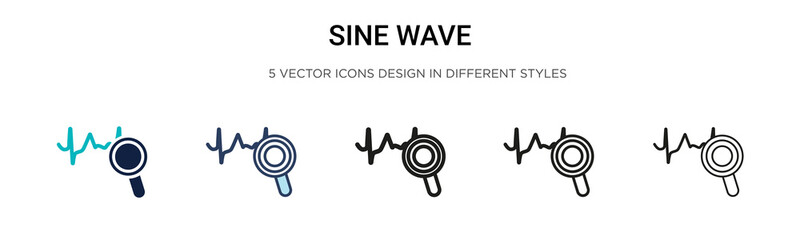 Sine wave icon in filled, thin line, outline and stroke style. Vector illustration of two colored and black sine wave vector icons designs can be used for mobile, ui, web