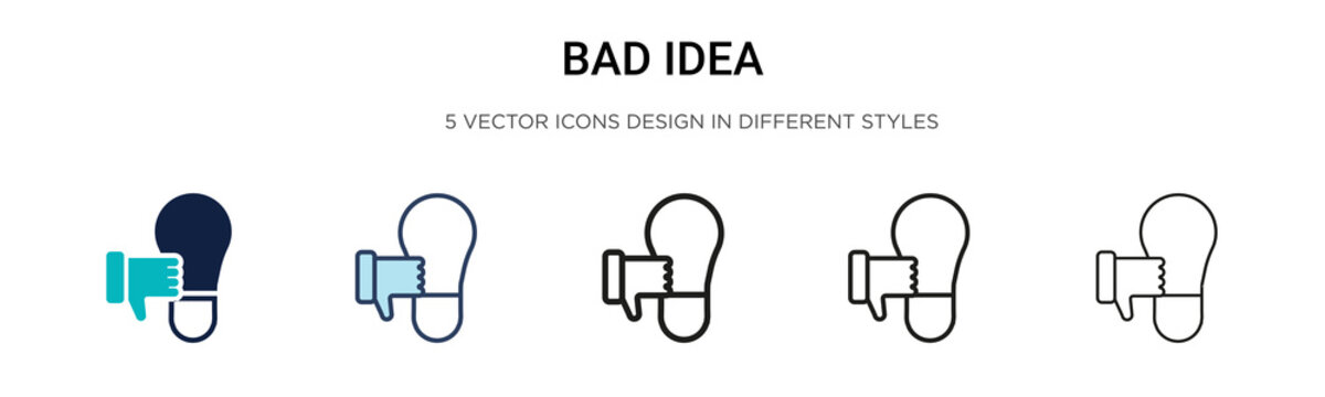 Bad idea icon in filled, thin line, outline and stroke style. Vector illustration of two colored and black bad idea vector icons designs can be used for mobile, ui, web