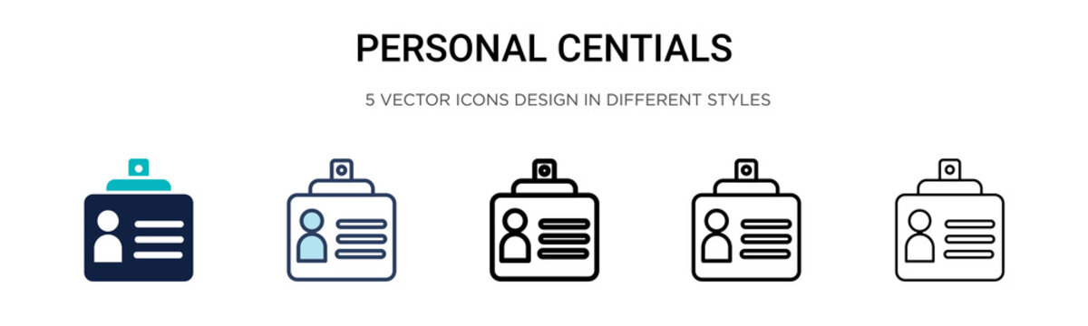 Personal credentials icon in filled, thin line, outline and stroke style. Vector illustration of two colored and black personal credentials vector icons designs can be used for mobile, ui, web