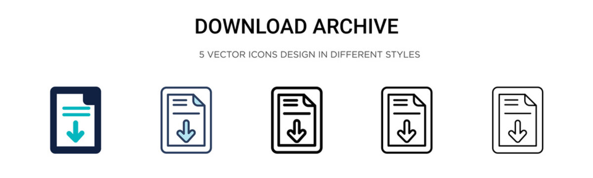 Download archive icon in filled, thin line, outline and stroke style. Vector illustration of two colored and black download archive vector icons designs can be used for mobile, ui, web