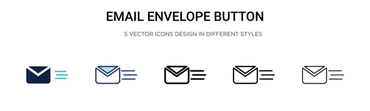 Email envelope button icon in filled, thin line, outline and stroke style. Vector illustration of two colored and black email envelope button vector icons designs can be used for mobile, ui, web