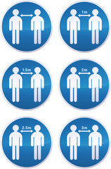 Collection de panneaux d'obligation de distanciation sociale en mètre (détouré)