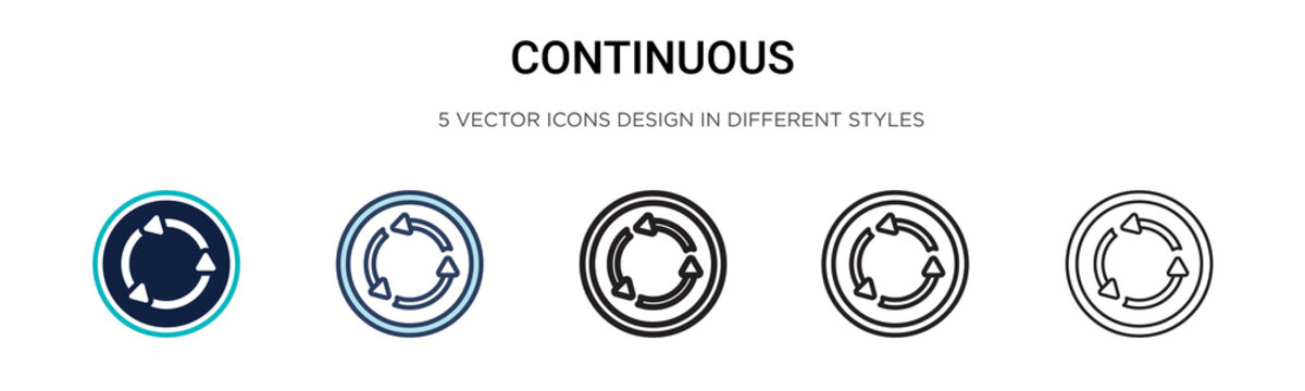 Continuous icon in filled, thin line, outline and stroke style. Vector illustration of two colored and black continuous vector icons designs can be used for mobile, ui, web