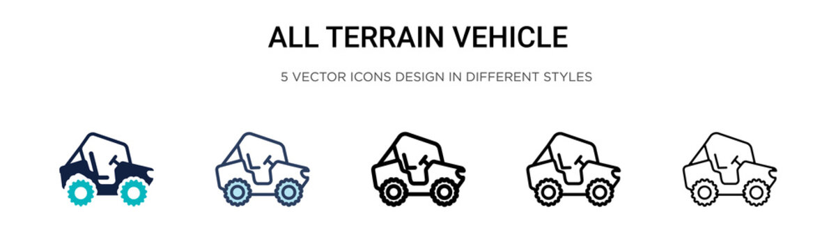 All terrain vehicle icon in filled, thin line, outline and stroke style. Vector illustration of two colored and black all terrain vehicle vector icons designs can be used for mobile, ui, web