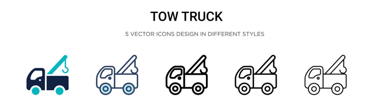 Tow truck icon in filled, thin line, outline and stroke style. Vector illustration of two colored and black tow truck vector icons designs can be used for mobile, ui, web