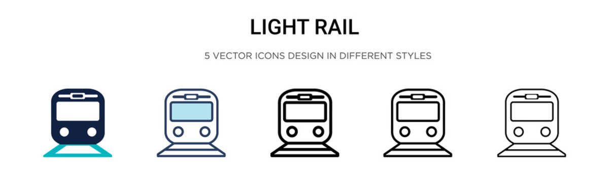 Light rail icon in filled, thin line, outline and stroke style. Vector illustration of two colored and black light rail vector icons designs can be used for mobile, ui, web