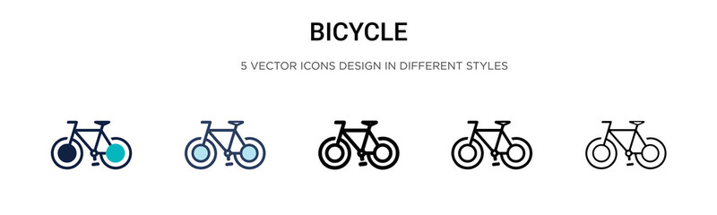 Bicycle icon in filled, thin line, outline and stroke style. Vector illustration of two colored and black bicycle vector icons designs can be used for mobile, ui, web Wall mural