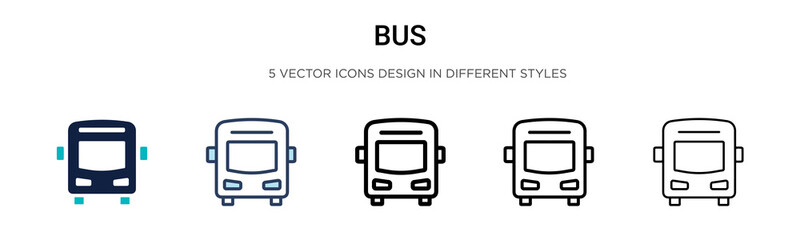 Bus icon in filled, thin line, outline and stroke style. Vector illustration of two colored and black bus vector icons designs can be used for mobile, ui, web