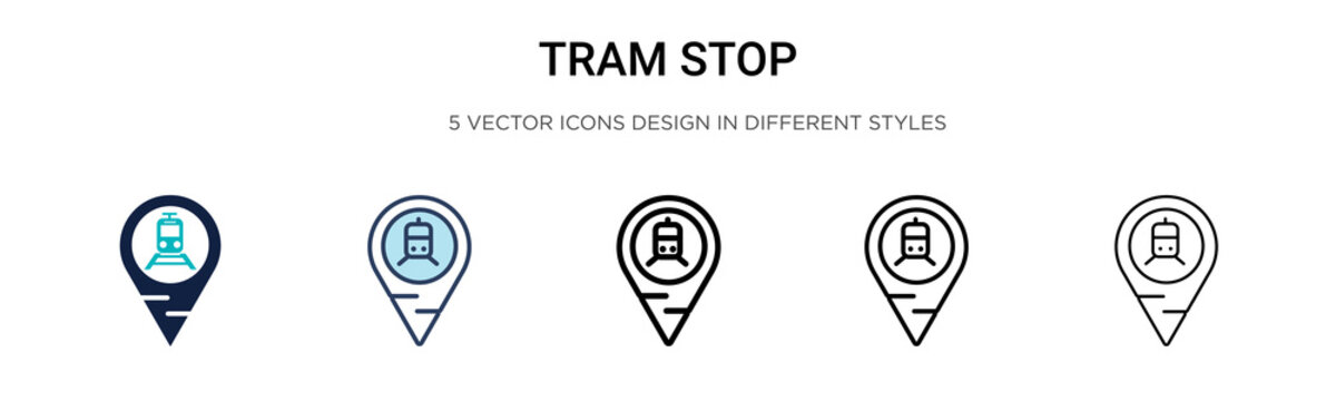 Tram stop icon in filled, thin line, outline and stroke style. Vector illustration of two colored and black tram stop vector icons designs can be used for mobile, ui, web