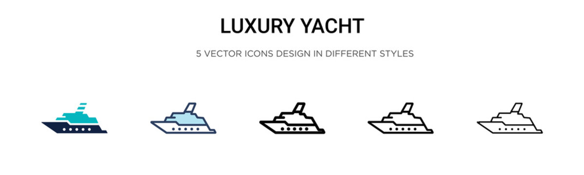 Luxury yacht icon in filled, thin line, outline and stroke style. Vector illustration of two colored and black luxury yacht vector icons designs can be used for mobile, ui, web