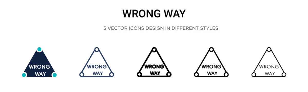 Wrong way sign icon in filled, thin line, outline and stroke style. Vector illustration of two colored and black wrong way sign vector icons designs can be used for mobile, ui, web
