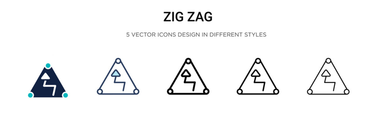 Zig zag sign icon in filled, thin line, outline and stroke style. Vector illustration of two colored and black zig zag sign vector icons designs can be used for mobile, ui, web