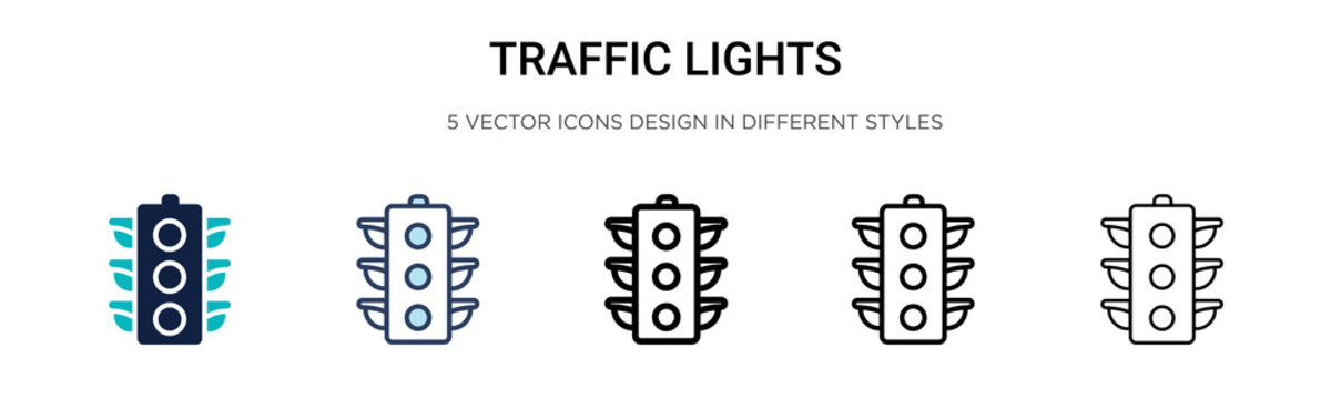 Traffic lights sign icon in filled, thin line, outline and stroke style. Vector illustration of two colored and black traffic lights sign vector icons designs can be used for mobile, ui, web