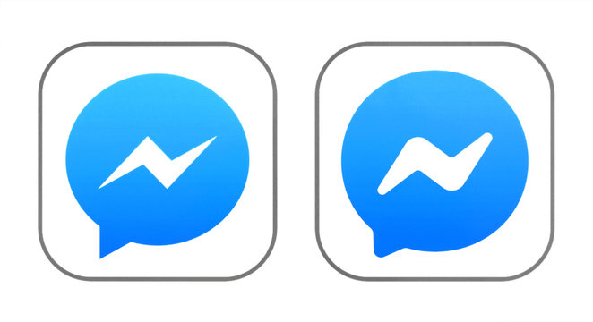Old and New icons of Facebook Messenger
