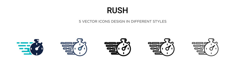 Rush icon in filled, thin line, outline and stroke style. Vector illustration of two colored and black rush vector icons designs can be used for mobile, ui, web Wall mural