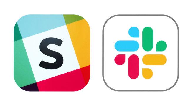 Kiev, Ukraine - November 02, 2019: Old and New icons of Slack app
