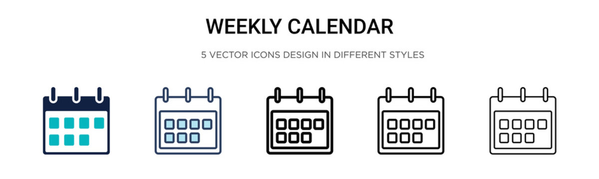 Weekly calendar icon in filled, thin line, outline and stroke style. Vector illustration of two colored and black weekly calendar vector icons designs can be used for mobile, ui, web