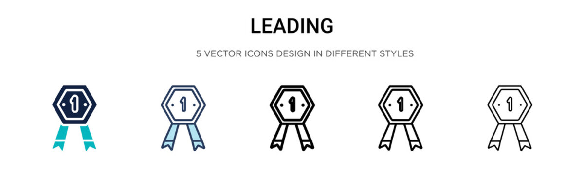 Leading icon in filled, thin line, outline and stroke style. Vector illustration of two colored and black leading vector icons designs can be used for mobile, ui, web