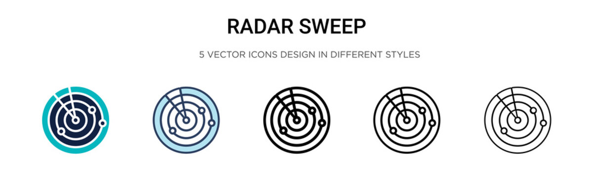 Radar sweep icon in filled, thin line, outline and stroke style. Vector illustration of two colored and black radar sweep vector icons designs can be used for mobile, ui, web