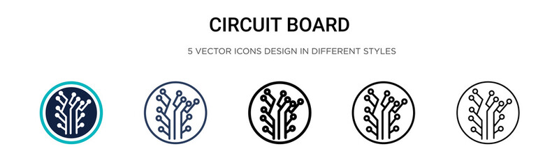 Circuit board icon in filled, thin line, outline and stroke style. Vector illustration of two colored and black circuit board vector icons designs can be used for mobile, ui, web Wall mural