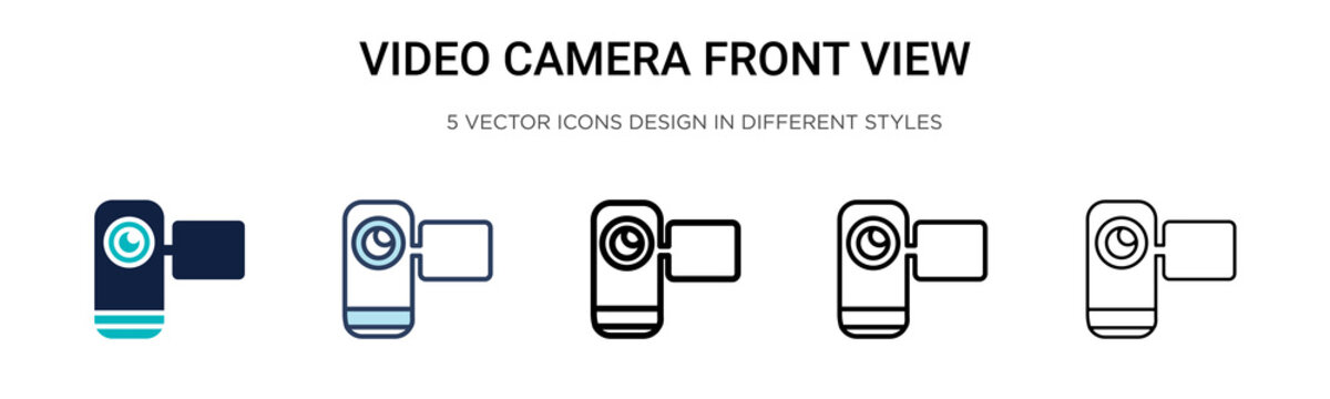 Video camera front view icon in filled, thin line, outline and stroke style. Vector illustration of two colored and black video camera front view vector icons designs can be used for mobile, ui, web