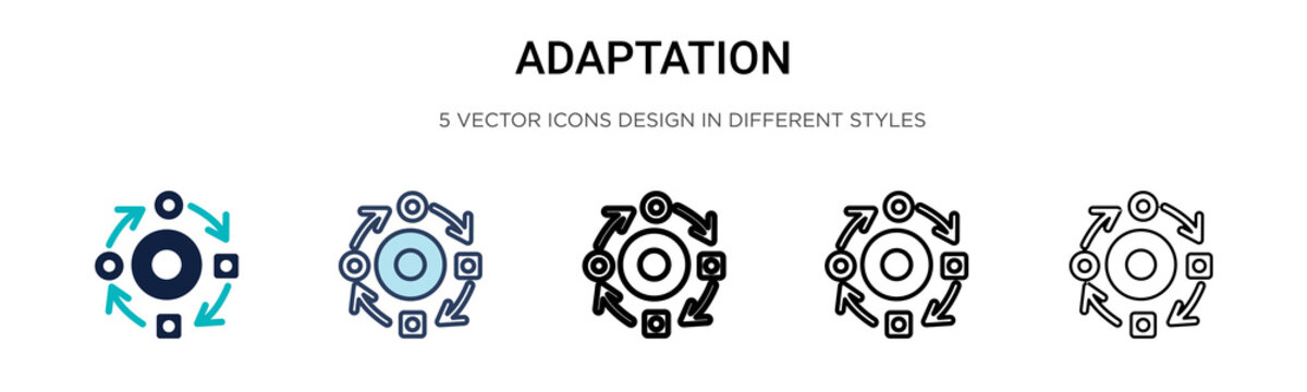 Adaptation icon in filled, thin line, outline and stroke style. Vector illustration of two colored and black adaptation vector icons designs can be used for mobile, ui, web