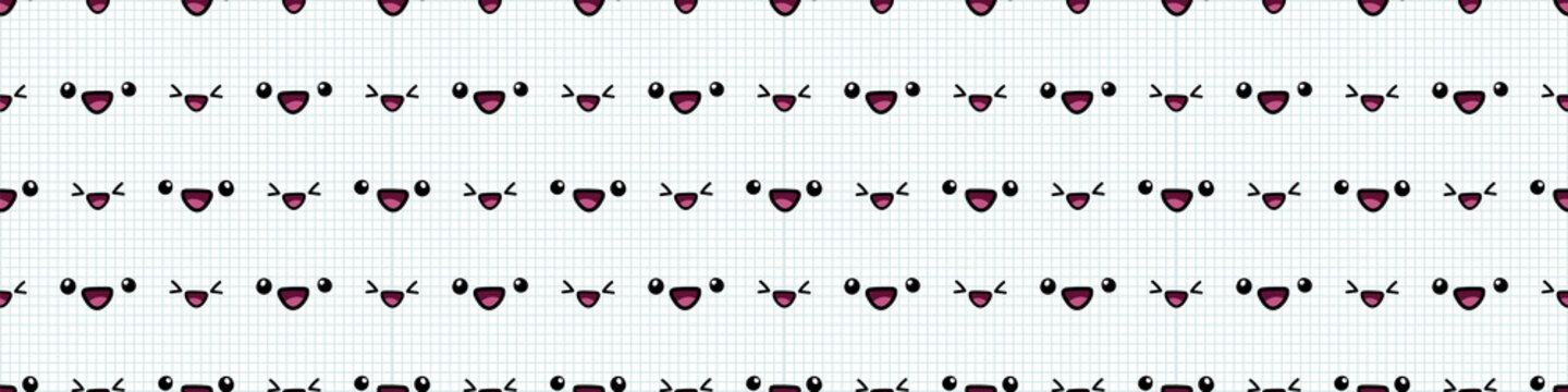 Kawaii Japanese laughing and happy face seamless vector border. Hand drawn facial expression of joy concept. Cute emoticon for Japan all over print background.