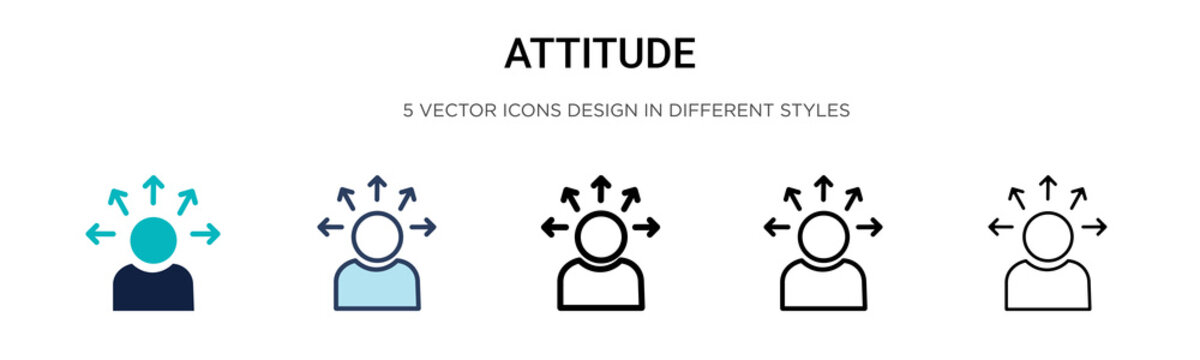 Attitude icon in filled, thin line, outline and stroke style. Vector illustration of two colored and black attitude vector icons designs can be used for mobile, ui, web