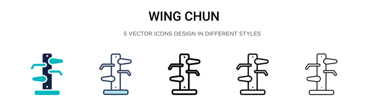 Wing chun icon in filled, thin line, outline and stroke style. Vector illustration of two colored and black wing chun vector icons designs can be used for mobile, ui, web