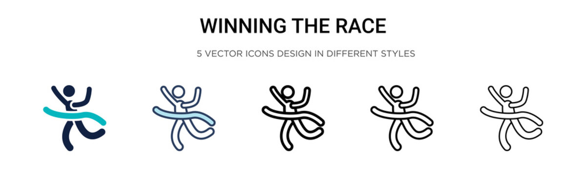 Winning the race icon in filled, thin line, outline and stroke style. Vector illustration of two colored and black winning the race vector icons designs can be used for mobile, ui, web